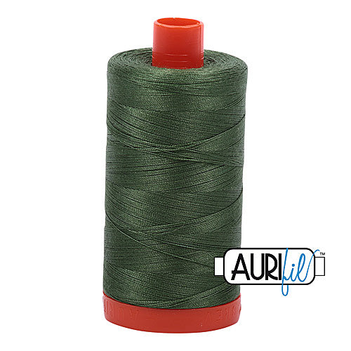 Aurifil Mako 50wt Cotton 1300 m (1422 yd.) spool - 2890 Very Dark Grass Green<br>