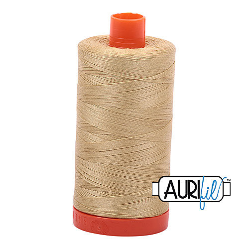 Aurifil Mako 50wt Cotton 1300 m (1422 yd.) spool - 2915 Very Light Brass<br>