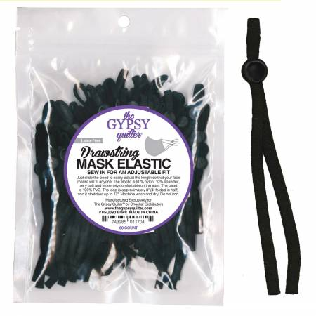 Drawstring Mask Elastic Black 8 inch 60 count