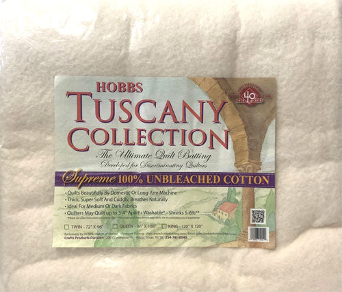 "Hobbs Tuscany Supreme 100% Unbleached Cotton Batting - 72"" X 96"" Twin"