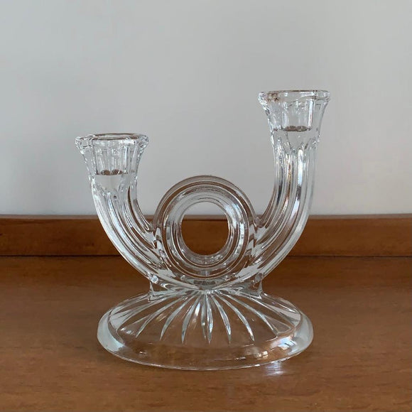 Bougeoir vintage en verre moulé