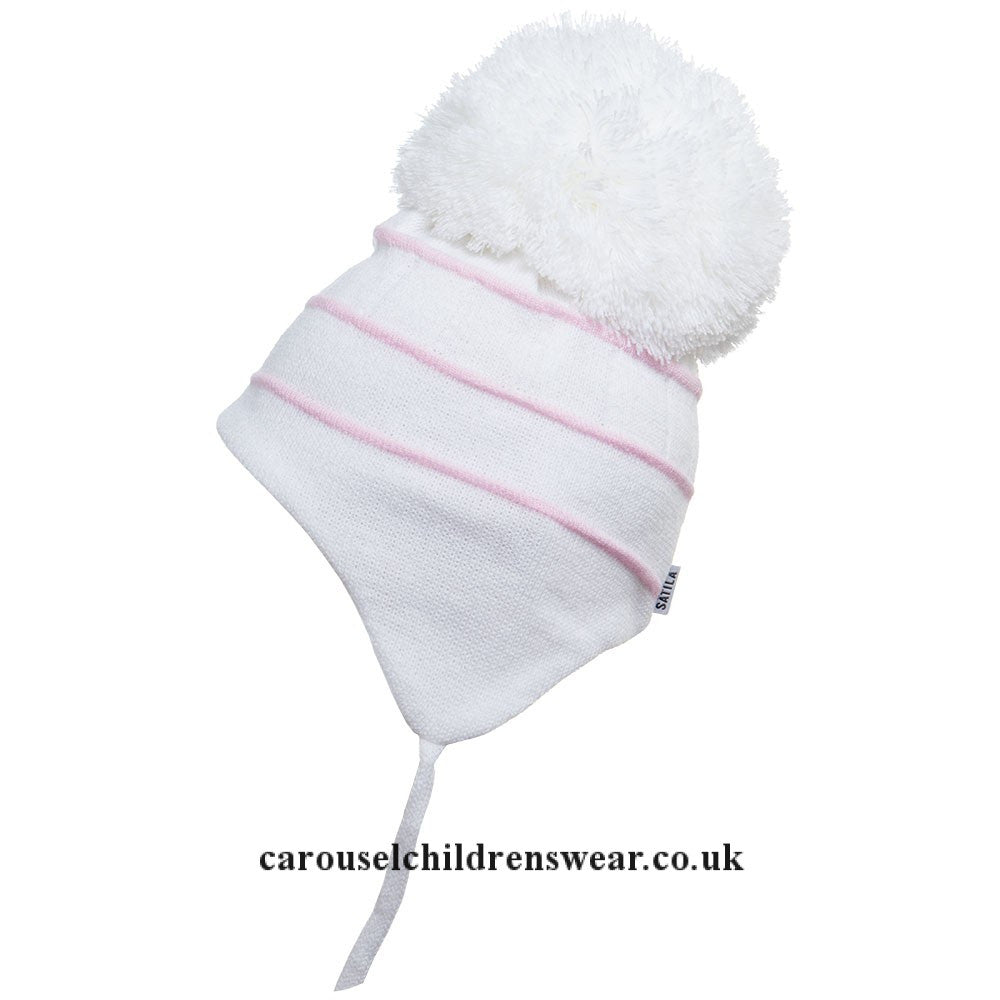 SATILA BOBBY WHITE AND PINK POM POM HAT