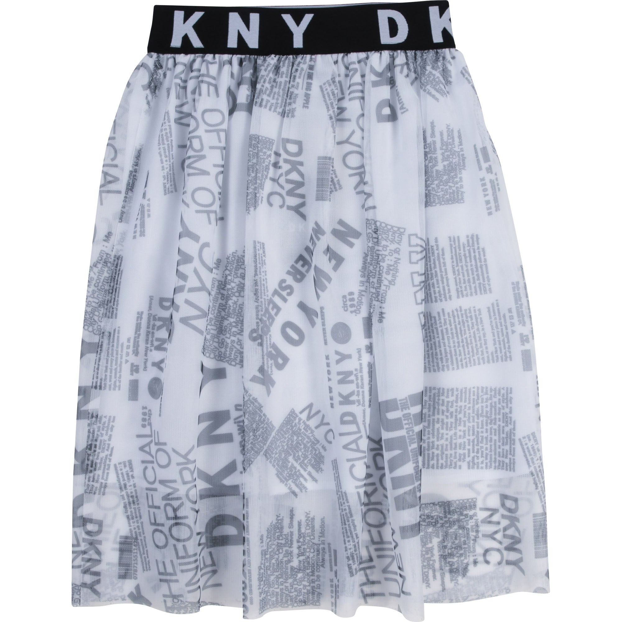 Dkny black AND WHITE logo tulle SKIRT