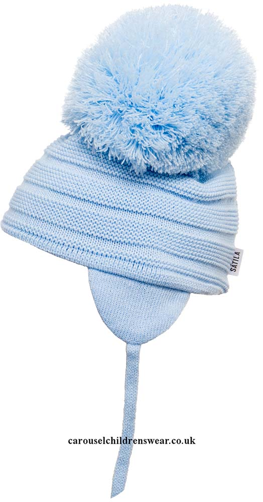 SATILA PURL PALE BLUE POM POM HAT