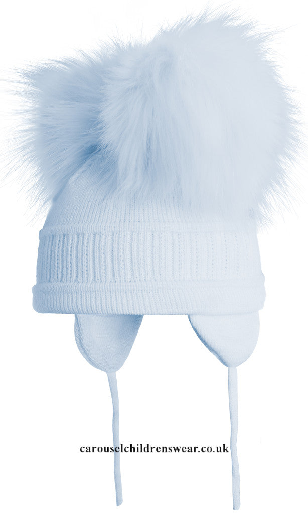 SATILA TINDRA PALE BLUE FAUX FUR DOUBLE POM POM HAT