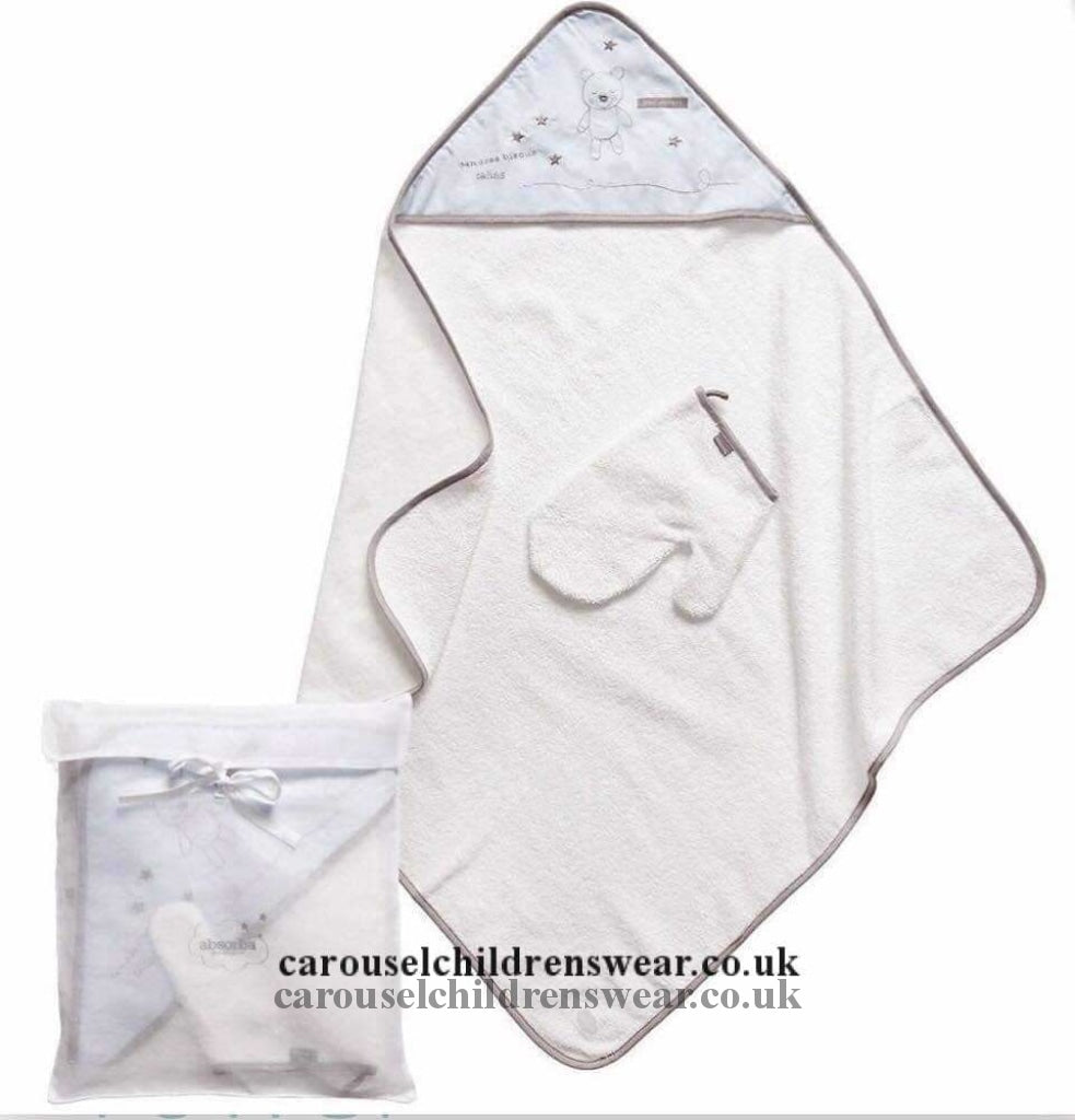 Absorba 9471029 White And Pale Blue Hooded Baby Towel Accessories