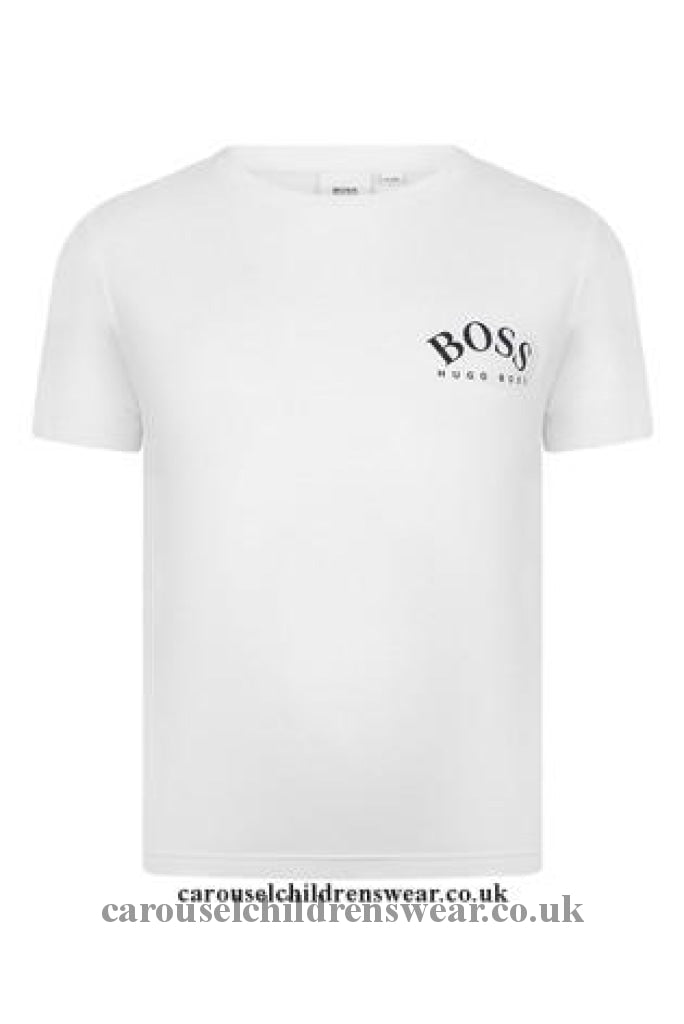 Boss J25G23 10B White Short Sleeve T-Shirt Clothing