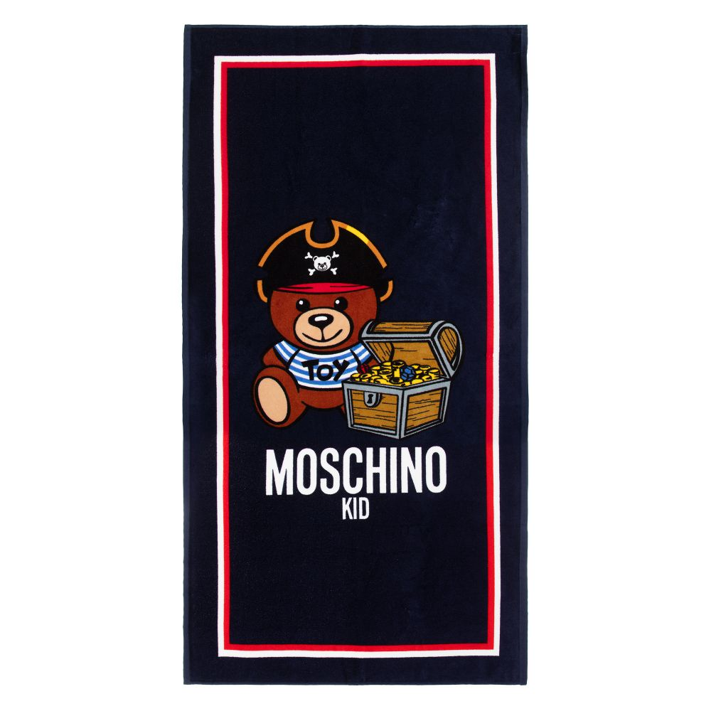 Moschino navy teddy logo towel