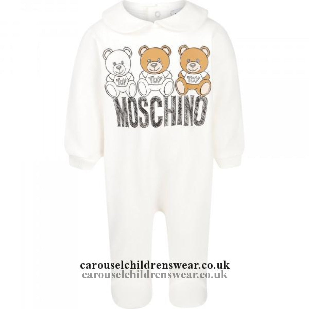 Moschino Mmt01U Lga07 Cream Logo Romper Clothing
