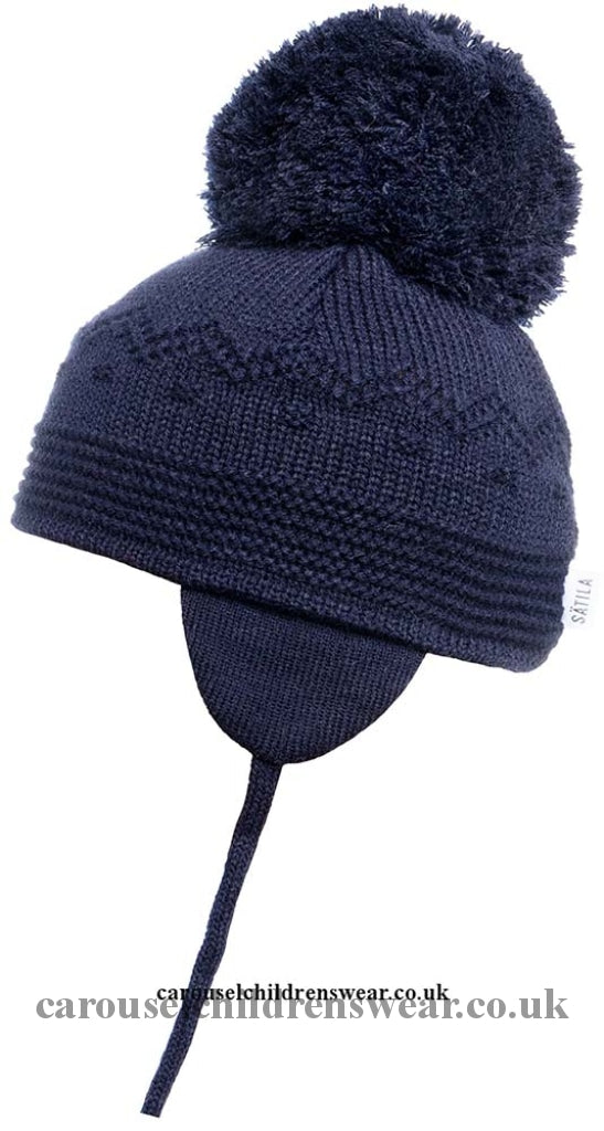 Satila Belle Navy Blue Pom Hat Accessories