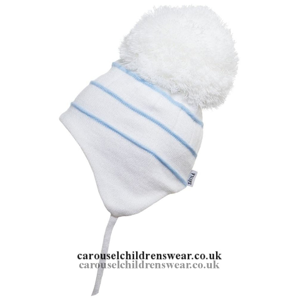 Satila Bobby White And Blue Pom Hat Accessories