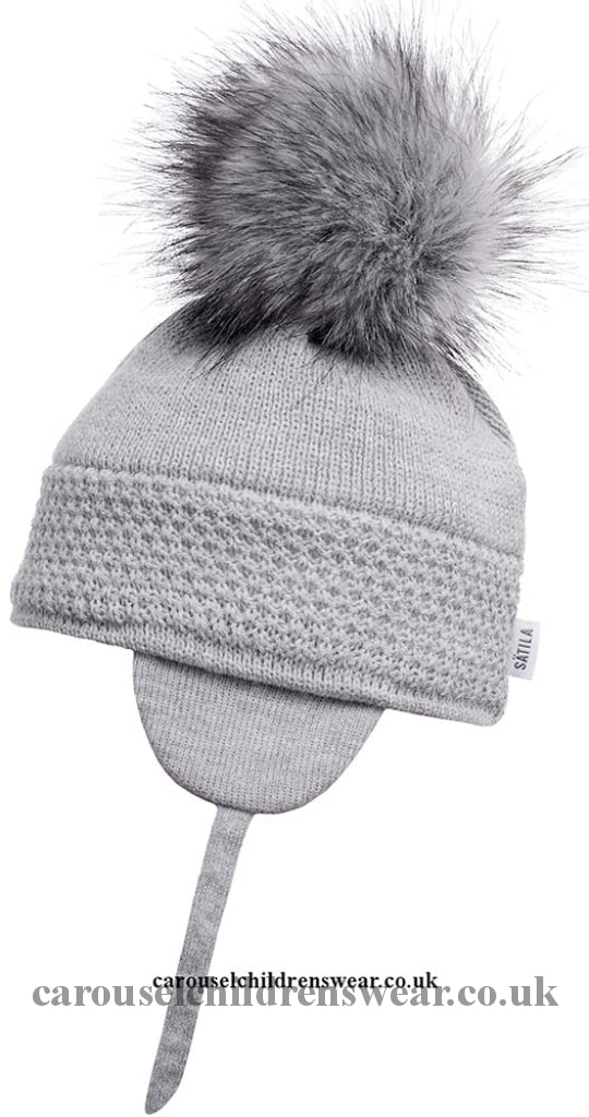 Satila Daisy Grey Faux Fur Pom Hat Accessories