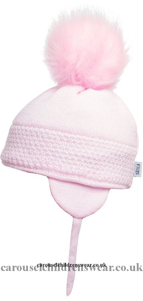 Satila Daisy Pale Pink Faux Fur Pom Hat Accessories