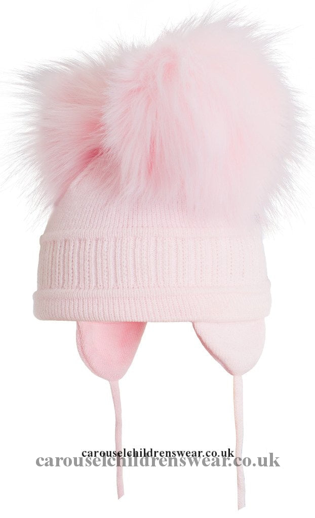 Satila Tindra Pink Faux Fur Double Pom Hat Accessories