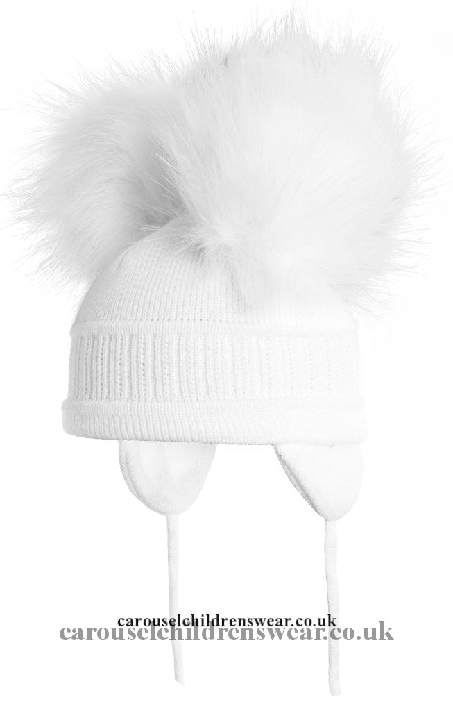 Satila Tindra White Double Faux Fur Pom Hat Accessories