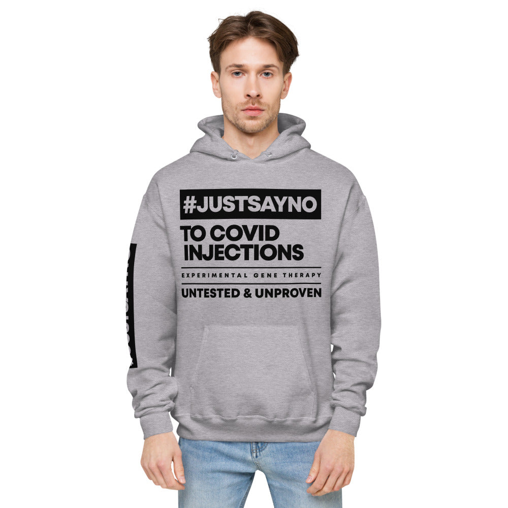 #JUSTSAYNO - Unisex fleece hoodie (White or Grey)