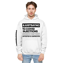 Load image into Gallery viewer, #JUSTSAYNO - Unisex fleece hoodie (White or Grey)