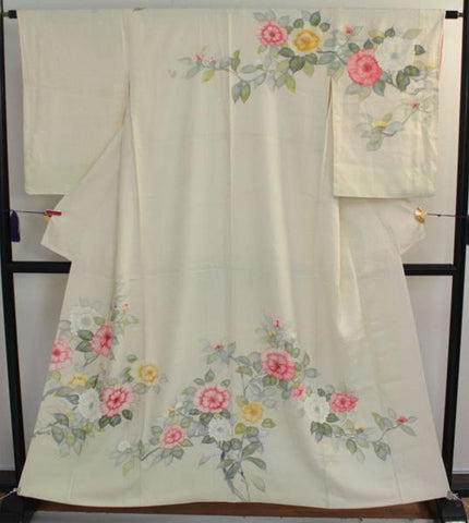 アンティーク着物 訪問着 袷 ANTIQUE KIMONO AK-006 (USED)  TYPE: HOMONGI, AWASE, GENUINE SILK