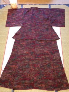 アンティーク 着物 AK-034 小紋 袷 正絹 縮緬 ANTIQUE KIMONO (VINTAGE - USED) TYPE: AWASE, KOMON, MADE OF SILK