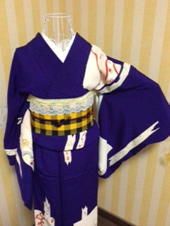 アンティーク 着物 AK-037 袷 正絹 ANTIQUE KIMONO (VINTAGE - USED) TYPE: AWASE,  MADE OF SILK