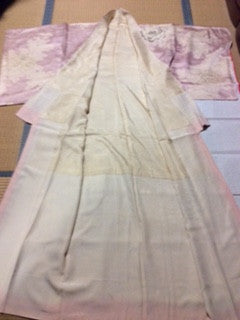 アンティーク 着物 AK-040 袷 正絹 ANTIQUE KIMONO (VINTAGE - USED) TYPE: AWASE,  MADE OF SILK