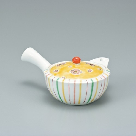 Kutani Polcerain - Tea Pot Yellow Stripe Pattern KP-003