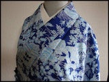 アンティーク 着物 袷 化繊 ANTIQUE KIMONO (USED) AK-004 TYPE: AWASE, MADE OF POLYESTER, WASHABLE