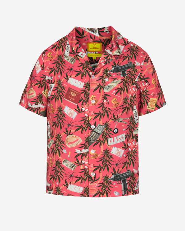 Red printed short sleeve vacation shirt