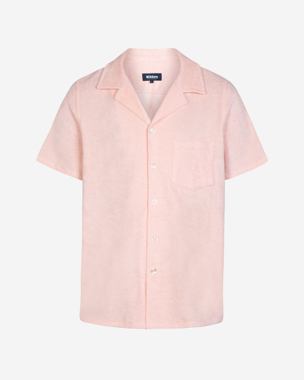 Light pink short sleeve terry towelling shirt with white buttons and chest pocket