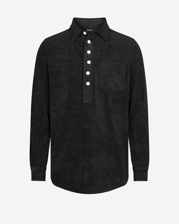 Black terry towelling shirt with white buttons and chest pocket