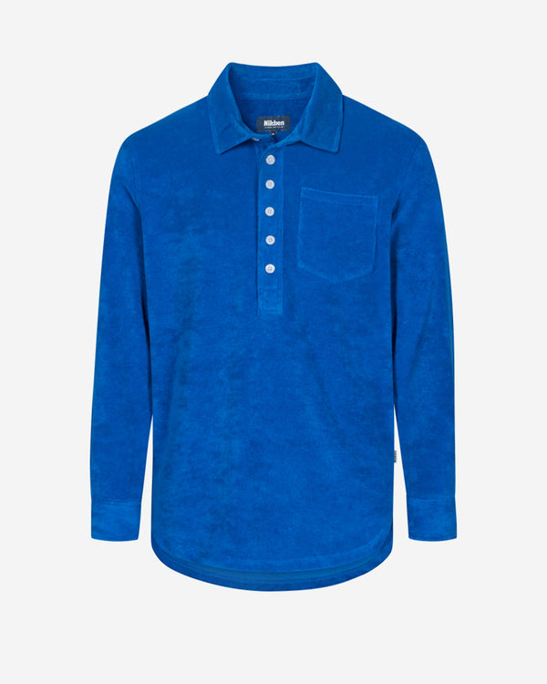 Indigo blue long sleeve shirt in terry towelling fabric