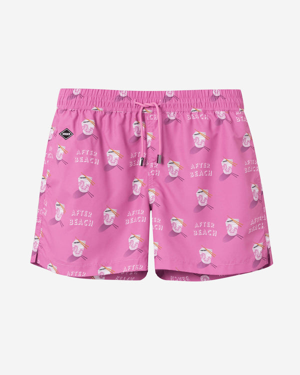 Pink printed mid length swim trunks