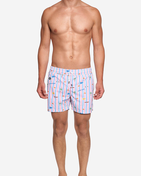 Model wearing striped printed mid length swim trunks
