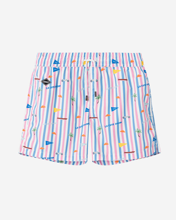 Striped printed mid lenght swim trunks