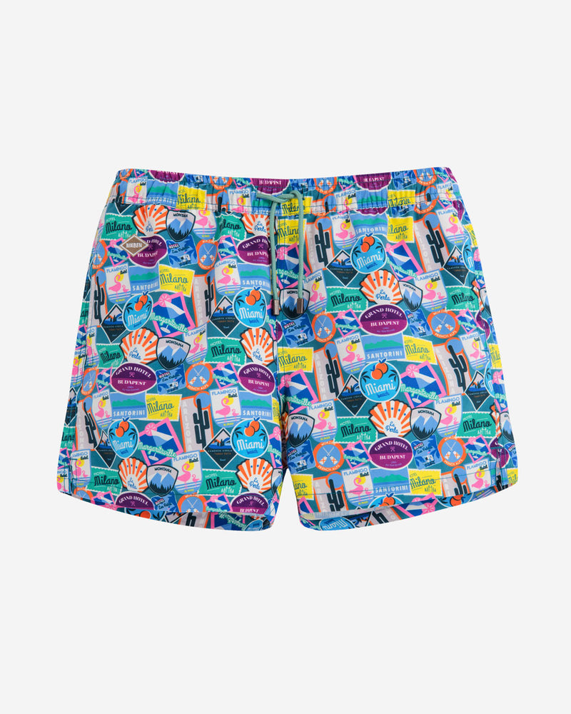 Multicolored printed mid length swim trunks