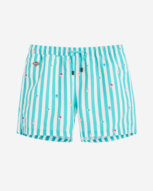 White-green striped swim trunks with prints