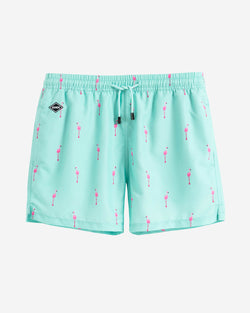 Turquoise swim trunks with pink flamingos