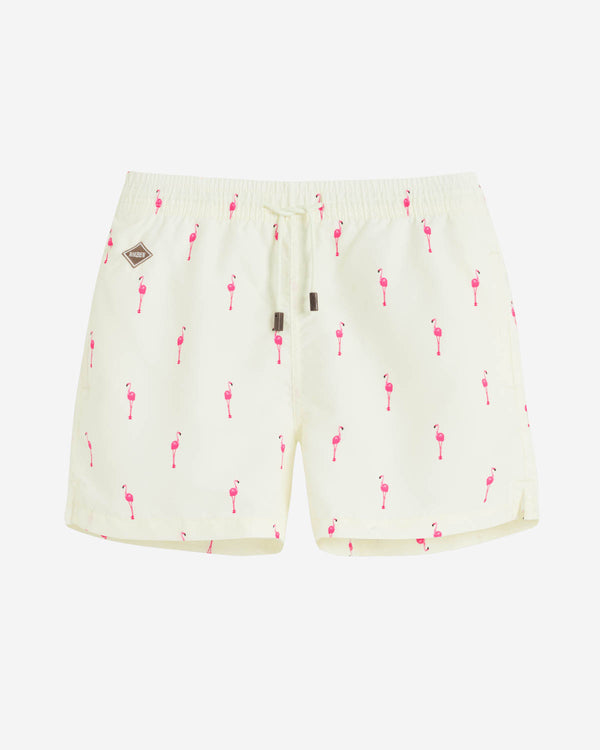 Yellow swim trunks with pink flamingos