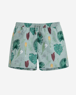 Green flower printed swim trunks