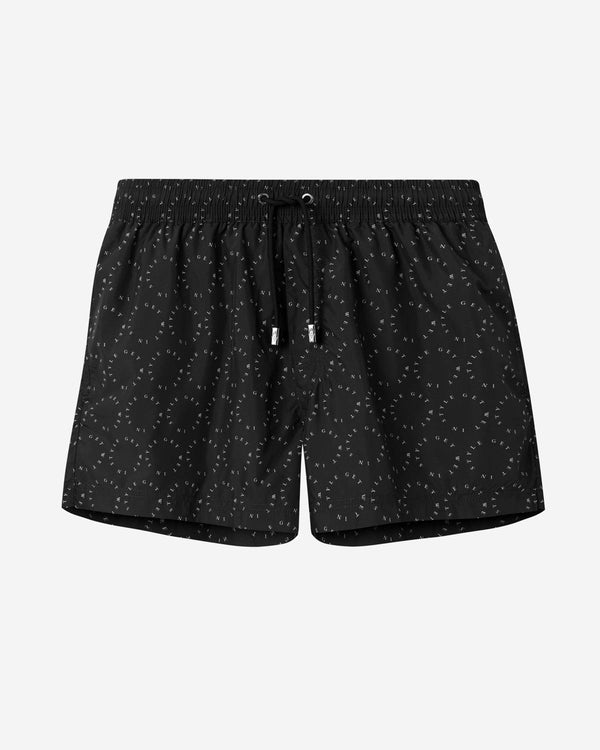 Black mid length swim trunks with white text