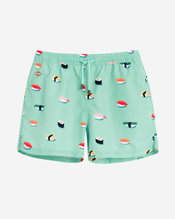 Green mid length swim trunks with sushi print