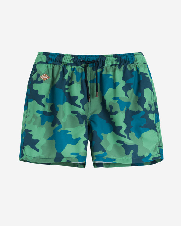 Green-blue camouflaged swim trunks