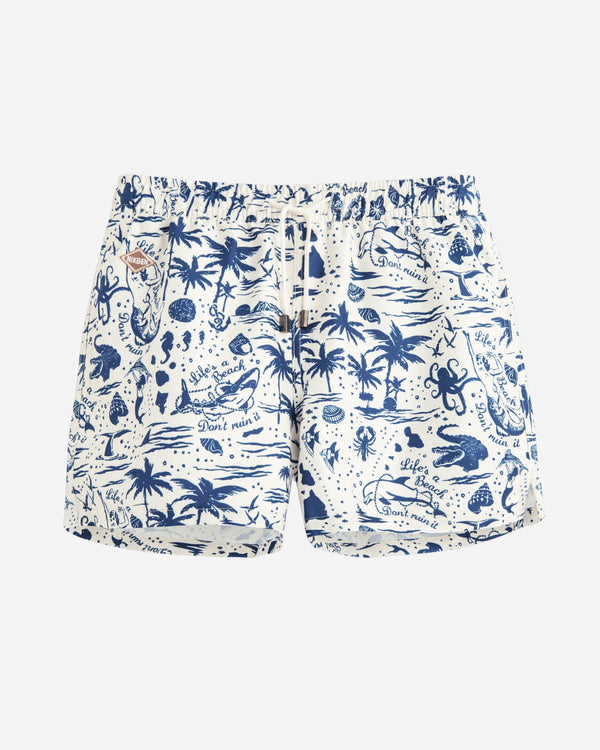 White mid length swim trunks with blue prints
