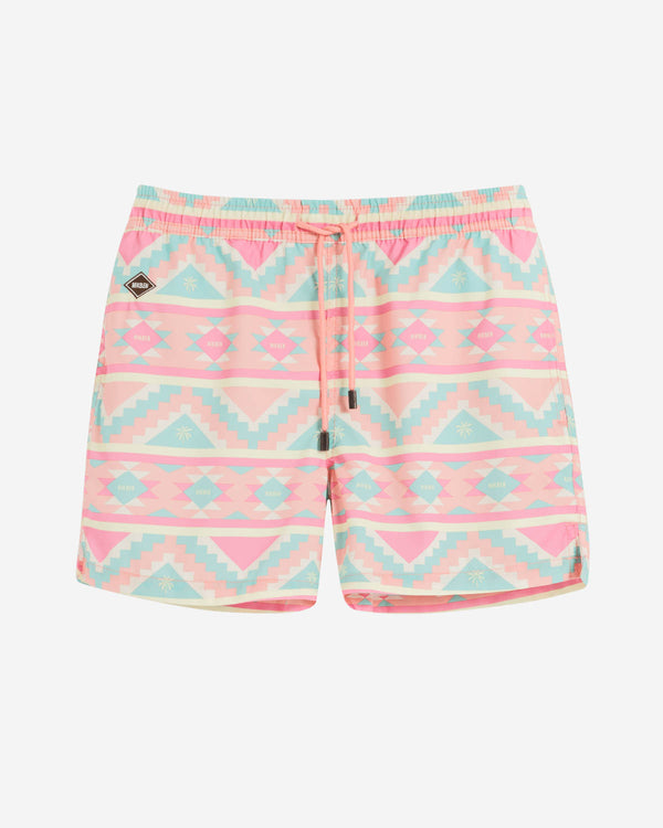 Multicolored mid length swim trunks