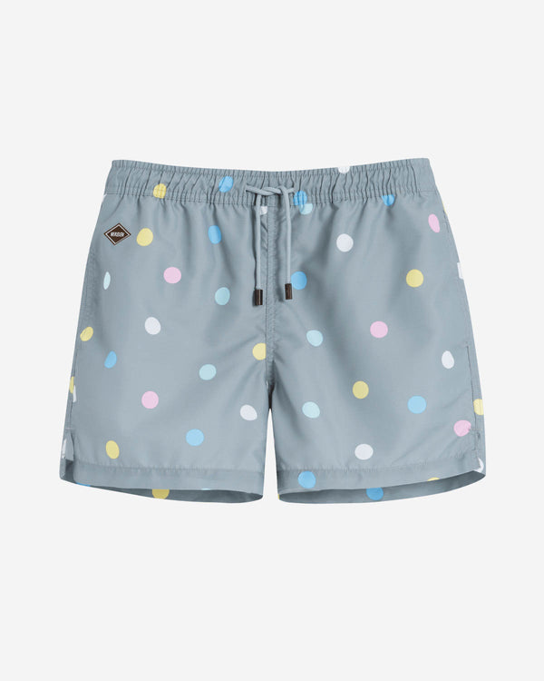 Grey mid length swim trunks with multicolored dots