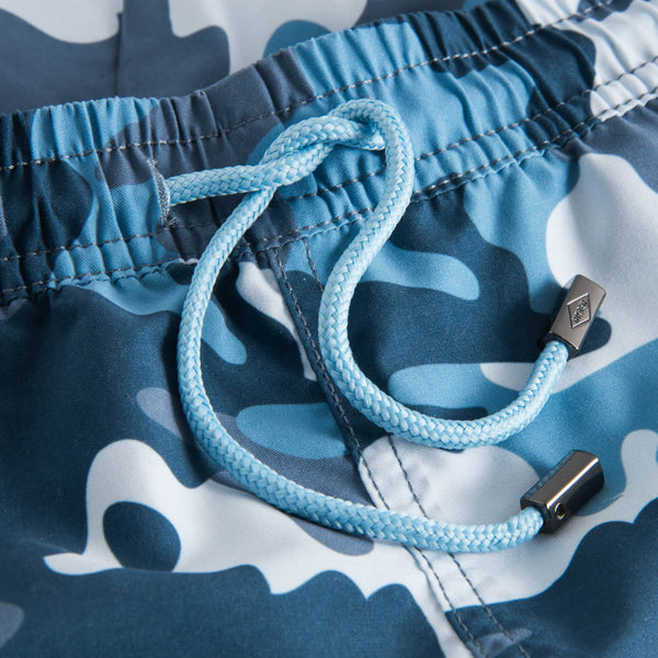 Drawstring waistband on blue camouflage  printed swim trunks
