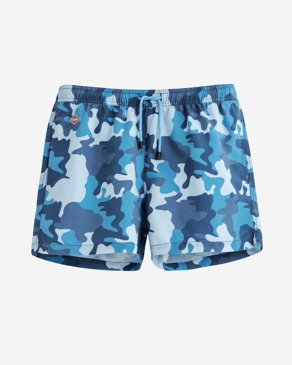 Blue camouflage printed swim trunks