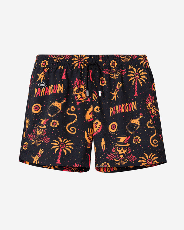 Black mid length swim trunks with red/yellow print