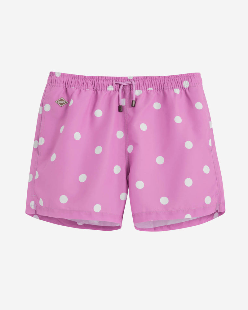 Pink mid length swim trunks with white dots