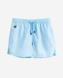 White/blue striped mid length swim trunks with yellow bananas